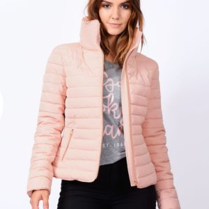 HONEY FUNNEL NECK QUILTED JACKET IN BLUSH PINK – TOKYO LAUNDRY